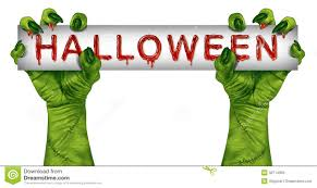 scary halloween sign creepy halloween monster with blank sign in hand stock images