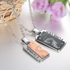 His And Hers Dog Tags His U0026 Hers Square Stainless Steel Matching Couples Pendants