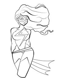 coloring pages deviantart more like ms marvel coloring page by