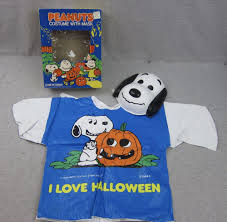 vintage child peanuts snoopy costume with mask halloween