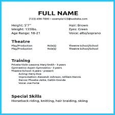 Child Actor Resume Template 100 Musical Theater Resume Sample Musical Theater Resume