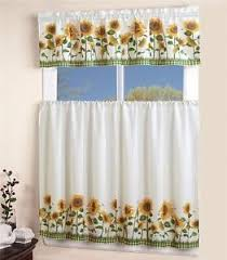 Sunflower Valance Curtains Linen House 3 Pc Sunflower Kitchen Curtains Tier And