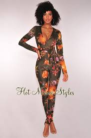 belted jumpsuit autumn floral sleeves belted jumpsuit