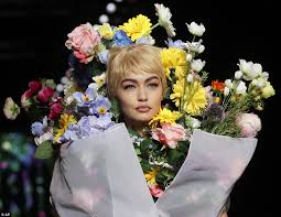 flower dress gigi hadid rocks bright bouquet at moschino mfw show daily mail