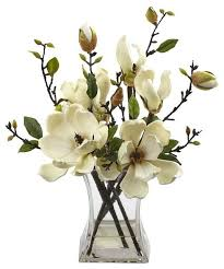 Artificial Floral Arrangements Magnolia Arrangement With Vase Artificial Flower Arrangements