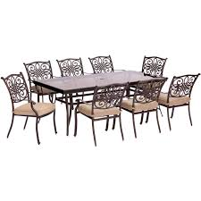 hanover traditions 9 piece dining set in tan with extra long glass