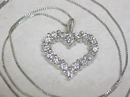 platinum heart necklace images Vintage platinum diamond 1 0 ctw heart pendant with chain sold jpg