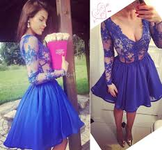royal blue short prom dresses v neck illusion long sleeves