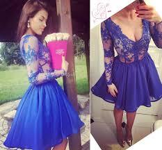 royal blue short prom dresses v neck illusion long sleeves