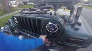 jeep angry headlights jeep tj angry grille install youtube