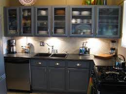 Kitchen Cabinets With Glass Kitchen With Dark Grey Cabinets And Glass Cabinet Doors Glass