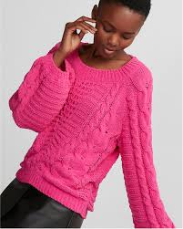 chenille sweater cable knit chenille boat neck balloon sleeve sweater express