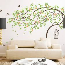 tree bird wall stickers leaning tree with birds and birdcage wall sticker stickers