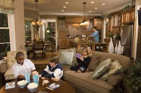 kitchen family room ideas decorating blue and brown family room ideas with wood flooring