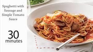 spaghetti with sausage and simple tomato sauce recipe myrecipes
