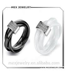 ceramic rings white images Triple twisted black and white diamond ceramic ring for men women jpg