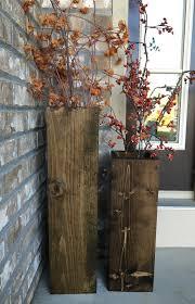 Large Wood Floor Vase Wooden Vases Reclaimed Wood Rustic Vases Floor Vases Set
