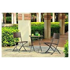 target folding patio table harrison 3pc all weather wicker folding patio bistro set threshold