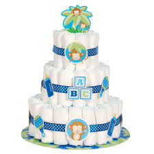amazon com boy monkey baby shower diaper cake kit 25pc kitchen