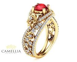 ruby rings designs images Natural ruby 18k yellow gold ring floral design engagement ring jpg