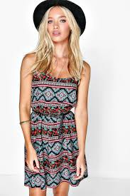 sun dress ramonna ethnic printed strappy sundress boohoo