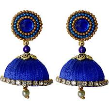 jumka earrings handmade silk thread blue dangler jhumka earrings model 2 buy