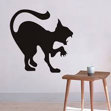 online shop black cat wall stickers halloween plane cartoon window