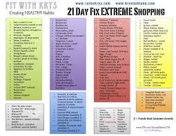 21 day fix extreme shopping grocery list www facebook com