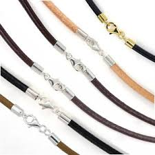 necklace cords with clasp images Sterling silver 3mm round genuine leather cord necklace bracelet jpg
