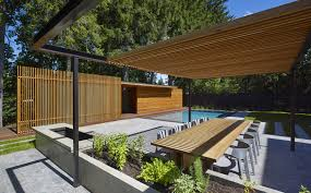 wooden pool house amantea architects