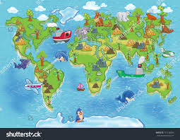 map of continents world map all continents stock illustration