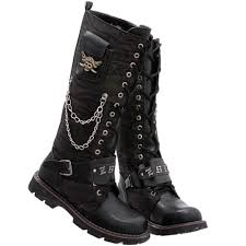 buy boots buy black skull lace up knee high rock fashion boots