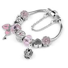 colored charm bracelet images Queen jewelry silver color charms bracelet romantic fantasy crown jpg
