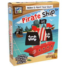 make u0026 paint your own pirate ship by craft for kids u2013 daves deals