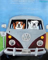 volkswagen bus painting english bulldog art printoriginal bulldog artenglish bulldog