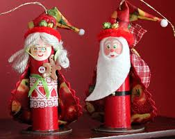 santa claus and mrs claus ornaments set handmade from