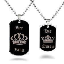 his and hers dog tags king dog tag necklace personalized custom engrave