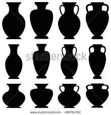 Greek Vases History Vector Set Black Silhouettes Ancient Amphorae Stock Vector