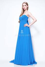 jessica alba blue pleated chiffon strapless evening prom dress on