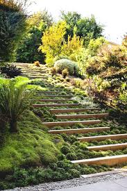 Sloping Garden Ideas Photos Slope Landscape Design Idea Steps With Integrated Greenery Best