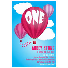 air balloons first birthday invitations paperstyle