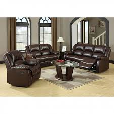 Reclining Sofa And Loveseat Set Winslow 2pcs Rustic Brown Bonded Leather Recliner Sofa Loveseat