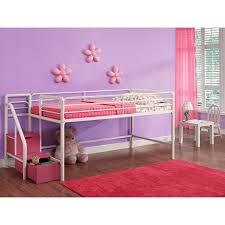 white girls bunk beds dhp junior loft with steps and storage pink hayneedle