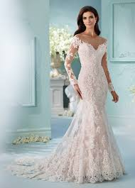 lace long sleeved fit u0026 flare wedding dress 216239 maisie