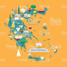 Greece Islands Map by Map Of Greece With Islands Vector Illustration Design Stock Vector