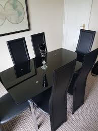 Black Glass Extending Dining Table 6 Chairs Black Glass Extendable Dining Table And 6 Chairs Best Gallery Of