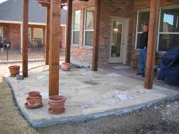 Photos Of Concrete Patios by Flagstone And Patterned Concrete Patio Hawkins Landscape U0026 Lawn