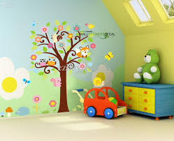 Giant Nursery Wall Decal Scroll Tree Owl Jungle Animal Wall - Kids rooms decals