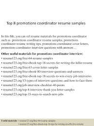 Resume Sample Promotion Within Company by Top8promotionscoordinatorresumesamples 150509174155 Lva1 App6892 Thumbnail 4 Jpg Cb U003d1431193363