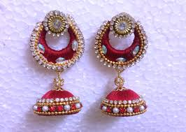 thread earrings how to attach silk thread chandbali earring with jhumka tutorial